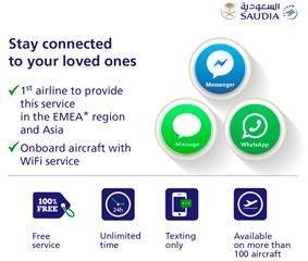 Saudia Airlines incorpora un sistema de mensajería gratuito a bordo