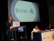 El presidente del SCB, Augusto Hidalgo, en su intervención en la asamblea.