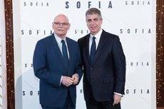 John Hoffman, director del MWC, y Jordi Mestre, presidente ejecutivo de Selenta Group, en la inauguración de la reforma del hotel.
