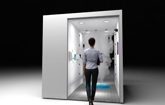 Un túnel de desinfección y control de temperatura