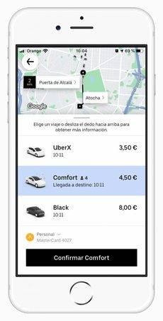 El servicio de Uber Comfort.