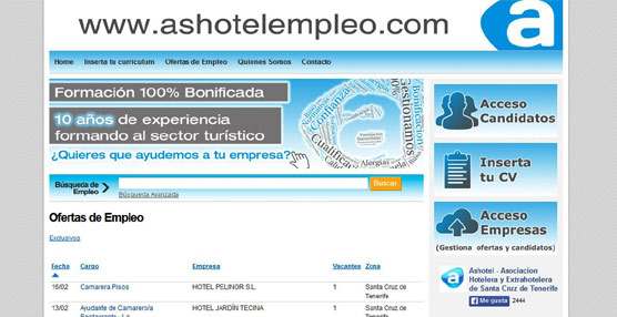 La patronal Ashotel pone en marcha un nuevo portal para la promoción del empleo en el sector turístico canario