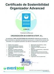 La agencia Staff Eventos obtiene la certificación Advanced de Eventsost en materia de sostenibilidad