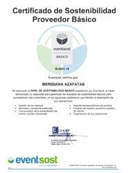 Meridiana Azafatas obtiene la certificación Básica de Eventsost en materia de sostenibilidad