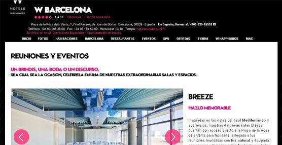 El hotel W Barcelona desarrolla una página 'web' exclusiva para la organización de eventos